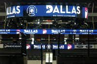 """Graphics promoting Dallas, including a convention logo featuring a """"D"""" inlaid with an elephant, were on display in American Airlines Center for members of the visiting Republican Party team that is evaluating possible 2016 convention sites.Nathan Hunsinger  -  Staff Photographer"""