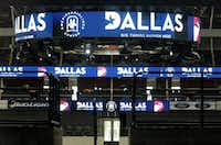"Graphics promoting Dallas, including a convention logo featuring a ""D"" inlaid with an elephant, were on display in American Airlines Center for members of the visiting Republican Party team that is evaluating possible 2016 convention sites.( Nathan Hunsinger  -  Staff Photographer )"