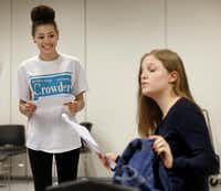 "Alicia Crowder (left) goes through a scene with Madison Bates during a theater class. Theater coordinator Karon Cogdill says Crowder ""is really strong in physical theater, as well as verbal.""(Michael Ainsworth - Staff Photographer)"