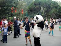 Lake Highlands High School graduate Jake Gaba dances with a man in a panda suit in Chengdu, China. This scene was included in a video Gaba produced of himself dancing in various locations around the country during his study abroad trip last fall.Photos submitted by JAKE GABA