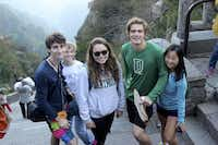 Gaba with fellow Dartmouth College students on top of Mount Tai, near Tai'an, China.Photo submitted by JAKE GABA