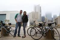 Dallas' Bicycle Transportation Manager Jared White and Haire in front of Dallas City Hall on October 21 of this year, when some council members rode their bikes to work (Rachel Woolf/Staff photographer)