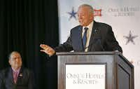 Cowboys owner Jerry Jones spoke during a news conference at The Star in November as Frisco Mayor Maher Maso listened. The Frisco City Council later approved a $3.4 million increase to add a glass facade on the stadium's front.( Vernon Bryant  -  Staff Photographer )