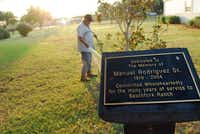 Manuel Rodriguez keeps the grounds tended at Southfork, where a plaque honors his father, who also worked at the ranch.