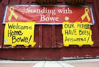 Signs went up at Zaney's coffee house in Sgt. Bowe Bergdahl's hometown of Hailey,  Idaho, after it was announced he had been released to U.S. special forces by the Taliban.( Drew Nash  - News )