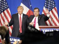 Donald Trump surprised attendees at his Fort Worth rally on Friday with the appearance and endorsement of former GOP presidential candidate Chris Christie.(Tom Fox - Staff Photographer)