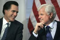 "Massachusetts Gov. Mitt Romney and Sen. Edward Kennedy talked during a bill-signing ceremony at the statehouse in Boston in February 2005. The two became collaborators, but not really friends: ""I just don't think they spoke the same language,"" a mutual friend says."