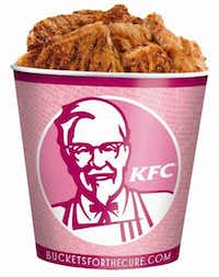 "Komen partnered with KFC for ""Bucket for the Cure."" The company gave Komen 50 cents for each pink bucket of fried chicken sold in April and May, prompting criticism for raising awareness about a women's health issue by selling an unhealthy product."