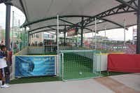 At the FC Dallas game at Toyota Stadium, kids can check out Hooper's Kid Zone, a covered play space with two mini soccer goals and netting to keep the balls within reach of the kids.FC Dallas