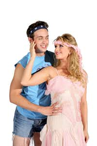 Sean McGee as the artist and Brittany Danielle as the muse star in WaterTower Theatre's production of Xanadu, July 26?Aug. 18, 2013, at the Addison Theatre and Conference Centre's Main Stage.