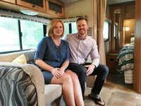 Denise and Bruce Kendrick relax in their camper in Frisco. Their sleeping area is in the background. (Loyd Brumfield/Staff)
