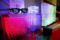 TI employees Roberto Rivera-Sandoval, Luis Flores and Rangan Roy are LED-ing the way to a better tomorrow with their DIY projects, including LED sunglasses and wireless LED towers that respond to music.( Tom Fox  - Staff Photographer)