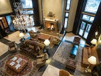 The spacious  lobby of the Waldorf Astoria Park City is fronted by a 300-year-old fireplace rescued from an Italian villa.(Dan Leeth - Dan Leeth/Special Contributor)