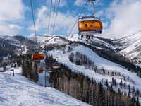 The Orange   Bubble Express  chairlift climbs the slopes on the Canyons Village side of Park City Mountain Resort, Park City, Utah. The 7,300-acre winter playground has 41 lifts, 300-plus trails and eight terrain parks all accessible on a single lift ticket.(Photos by - Dan Leeth/Special Contributor)