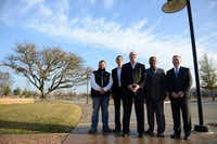 Members of the newly formed Lake Highlands Chamber of Commerce (from left) Christman Fifer, William Davenport, Ted Hill, David Tyson and Chris Bone stand at the site of the Lake Highlands Town Center development. Founder Ted Hill and members hope the group will bring economic growth to the area.( ROSE BACA )