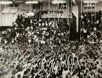 Students gather during Lake Highlands High School pep rally in 1981. The school will celebrate its 50th anniversary Sunday.Photo submitted by LAKE HIGHLANDS HIGH SCHOOL