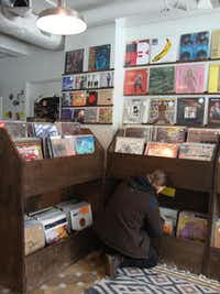 Mr. Friendly stocks a fun variety of vintage records inside Please & Thank You bakery.( Robin Soslow  -  Robin Soslow )