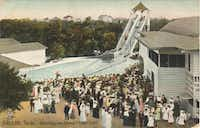 An old postcard of Lake Cliff Park shows residents gathered at the amusement park.(Courtesy of the OLD OAK CLIFF CONSERVATION LEAGUE)