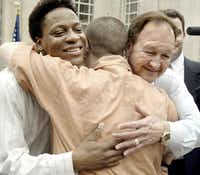 Tyron Garner (left) and John Lawrence  were plaintiffs in the U.S. Supreme Court decision that declared the Texas sodomy law unconstitutional.(2003 File Photo/Staff)