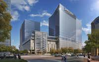 This rendering shows  the almost 1 million-square-foot high-rise complex KDC will build for Boston-based Liberty Mutual in Plano.(KDC)
