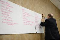 Bill Hidell, of Hidell and Associates Architects, hangs library expansion suggestions from residents on the wall during a a focus group meeting in Coppell. The William T. Cozby Public Library's growth means officials are now planning a $5 million renovation of the 28,000-square-foot building.(Rose Baca)