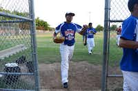 Noah Moreno of the Junior South Garland Allstars exits the field for a water break during a practice at Central Park in Garland.Photo by ROSE BACA  - neighborsgo staff photographer