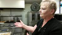 Liz Whitaker gives a tour of Denton's Our Daily Bread kitchen. The professionally-trained chef has worked for the soup kitchen for 13 years.( Photo by ADAM SCHRADER  -  neighborsgo )