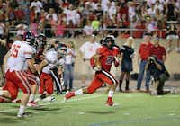 Coppell's Jacob Logan sprinted down the field in a game against McKinney Boyd on Sept. 7.