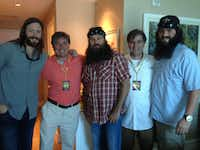 "From left: Grant Taylor, Johnny dela Valdene, Willie Robertson, Beaver Raymond and John David Owen got together in July in Shreveport, La., when dela Valdene arranged for ""Duck Dynasty"" star Robertson to meet his godfather, singer-songwriter Jimmy Bufffett."