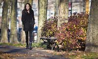 """Actress and author Mary-Louise Parker poses for portrait in a park in the Brooklyn borough of New York. Parker's """"Dear Mr. You,"""" a collection of lyrical and often emotional essays about men addressed to everyone from former (and unnamed) lovers to family members, has been highly praised by critics and made the actress a respected name in the literary world.(Bebeto Matthews - AP)"""