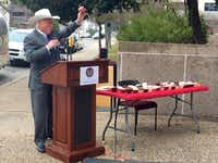 "Agriculture Commissioner Sid Miller declared ""amnesty"" for cupcakes in Texas schools at an Austin event on Monday, Jan. 12, 2014."