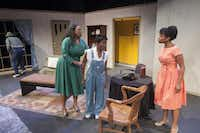 From left: Tyrees Allen (Mr. Chuck), Stormi Emerson (Gertie), Ashley Wilkerson (Robbie) and Whitney Coulter (Claudette) perform a scene from 'Mississippi Goddamn' during rehearsal at the South Dallas Cultural Center. Photographed on Tuesday, Feb. 3, 2015.( Rex C. Curry  -  Special Contributor )
