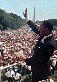 """The Rev. Martin Luther King Jr. gave his """"I Have a Dream"""" speech to the crowd at the Lincoln Memorial in Washington in 1963."""