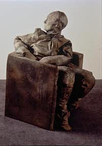 """""""Seated Figure Looking Backwards"""" (1996), by Juan Muñoz, is a gift to the Meadows Museum from the Barrett Collection.The Barrett Collection"""