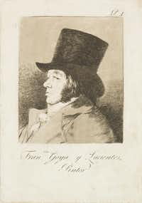 Francisco de Goya y Lucientes (Spanish, 1746-1828). Los Caprichos. Self Portrait. Plate No. 1. 1797-98, etching and burnished aquatint, Meadows Museum, SMU, Dallas. Algur H. Meadows Collection.(Michael Bodycomb)