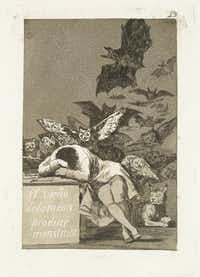 Francisco de Goya y Lucientes (Spanish, 1746-1828). Los Caprichos. The Sleep of Reason Produces Monsters. Plate No. 43. 1797-98, etching and burnished aquatint, Meadows Museum, SMU, Dallas. Algur H. Meadows Collection.(Michael Bodycomb)