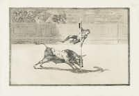 Francisco de Goya y Lucientes (Spanish, 1746-1828). La Tauromaquia. The Agility and Audacity of Juanito Apiñani in the Ring at Madrid. 1816, etching and aquatint, Meadows Museum, SMU, Dallas. Algur H. Meadows Collection.(Michael Bodycomb)