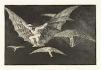 Francisco de Goya y Lucientes (Spanish, 1746-1828). Los Disparates. A Way of Flying. Plate No. 13.  1815-1824, etching and burnished aquatint, Meadows Museum, SMU, Dallas. Algur H. Meadows Collection.(Michael Bodycomb)