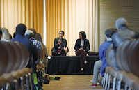 Christina Rosales (left) and Julieta Chiquillo, staff writers for The Dallas Morning News, talked about their jobs as journalists during High School Journalism Day at Union Station.Nathan Hunsinger  - Staff Photographer