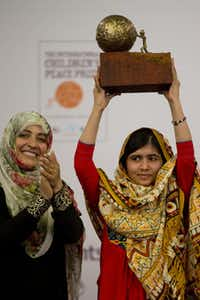 Pakistani teenager Malala Yousafzai, who was shot and injured by the Taliban for advocating girls' education, was awarded the International Children's Peace Prize 2013 by 2011 Nobel Peace Prize winner Tawakkol Karman of Yemen last month in The Hague, Netherlands.
