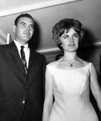 Kenneth and Marina Porter appear on the steps of their Richardson home June 1, 1965, just before departing for a North Dallas reception.DMN file photo