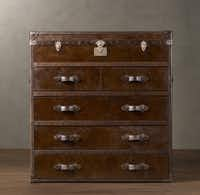 The aniline leather of the Mayfair steamer chest gets its antique look through a dying process that creates highlights and an aged appearance. $2,695. Restoration Hardware stores or www.restorationhardware.com