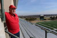 Jones looks out across Mesquite Memorial Stadium. He was planning on retiring but changed his mind after learning of the stadium renovation plans. He now plans on staying at least a year after the 2015 season.(Rose Baca - neighborsgo staff photographer)