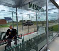 Mesquite Mayor John Monaco recorded a message about the new route in Hanby Stadium's bus shelter Tuesday. The city is covering the $300,000 operations cost for the line, and spent $100,000 to install the shelter, signage and security cameras.