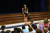 "Monique Evans talks to students at an assembly. On being a role model, the pageant contestant said, ""It hasn't been that much of a change, because I'm still Monique.""( Photo by Rose Baca  - neighborsgo staff photographer)"