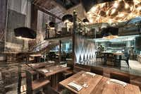 The bi-level dining room at Morimoto Mexico City is modern and beautiful.