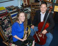 Natural horn player Nancy Jarrett (left) and Baroque cellist Eric Smith perform with the Orchestra of New Spain. The orchestra begins its 25th concert season in September.