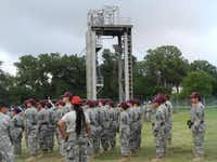 JROTC students muster in front of a training obstacle at Camp Bullis during a week-long Cadet Leadership Challenge Camp.( Photo submitted by EDWIN DUMAS )