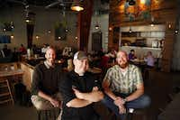 From left, Ned Steel IV, chef Daniel Pittman and Jeff Dietzman are partners for Luck restaurant.