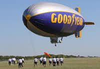The Goodyear blimp came in for a landing at Dallas Executive Airport on Monday.